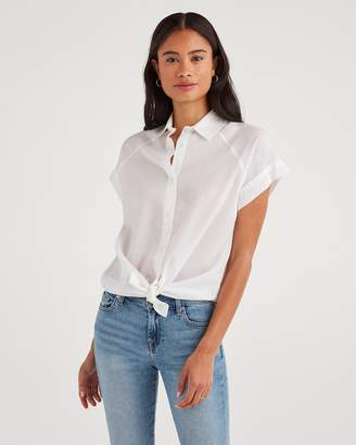 7 For All Mankind Cap Sleeve Tie Front Shirt in White