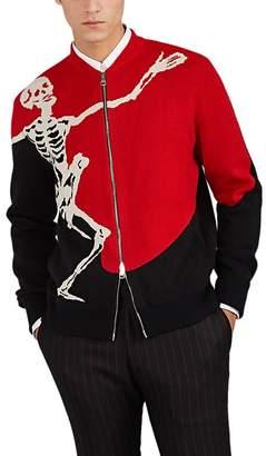 Alexander McQueen Men's Dancing-Skull Wool-Cashmere Zip-Front Sweater