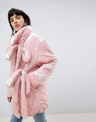 Asos DESIGN Velvet Puffer Jacket