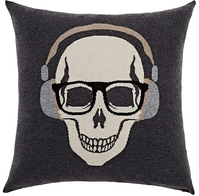 Rani Arabella Skull-With-Headphones Cashmere-Blend Pillow