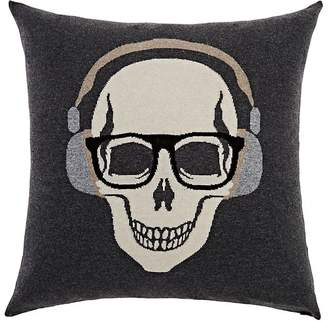 Rani Arabella Skull-With-Headphones Cashmere-Blend Pillow