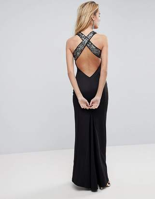 Asos DESIGN Sequin Bodice Strappy Back Fishtail Maxi Dress