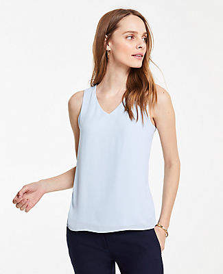 Ann Taylor Mixed Media V-Neck Shell
