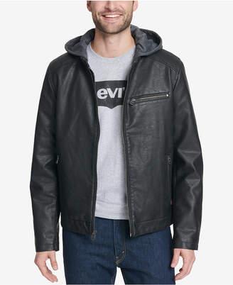Levi's Men Faux-Leather Hooded Jacket