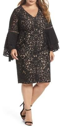 Xscape Evenings Bell Sleeve Burnout Mesh Sheath Dress (Plus Size)