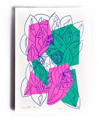 The Completist Neon Floral Limited Edition Screen Print