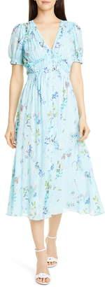 Tanya Taylor Alfonsa Floral Silk & Cotton Midi Dress