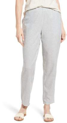Eileen Fisher Stripe Tapered Hemp Blend Ankle Pants