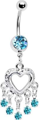 Body Candy Love Drops Blue Heart Chandelier Belly Ring