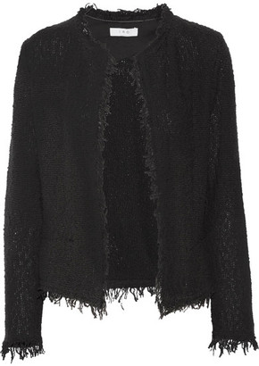 IRO - Shavani Frayed Cotton-blend Bouclé Jacket - Black $380 thestylecure.com