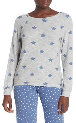 PJ Salvage Star Print Brushed Knit Pullover