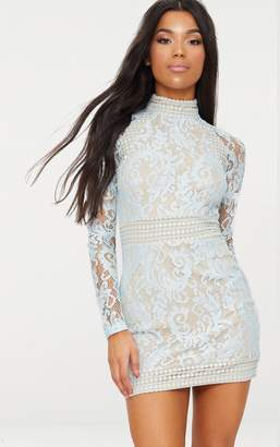 PrettyLittleThing Isobel Dusty Blue Lace High Neck Bodycon Dress