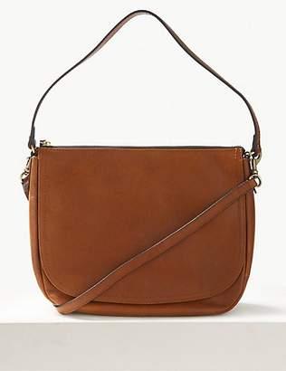 M&S Collection Leather Saddle Shoulder Bag