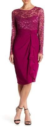 Marina V-Neck Embellished Trim Dress