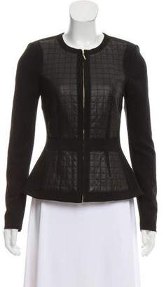 Rebecca Taylor Collarless Leather-Accented Jacket