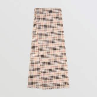 Burberry Metallic Vintage Check Wool Silk Blend Scarf, Beige