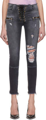 Unravel Black Lace-Up Skinny Jeans