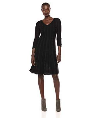 Nine West Women's V-Neck Fit & Flare Cable Knit Dress