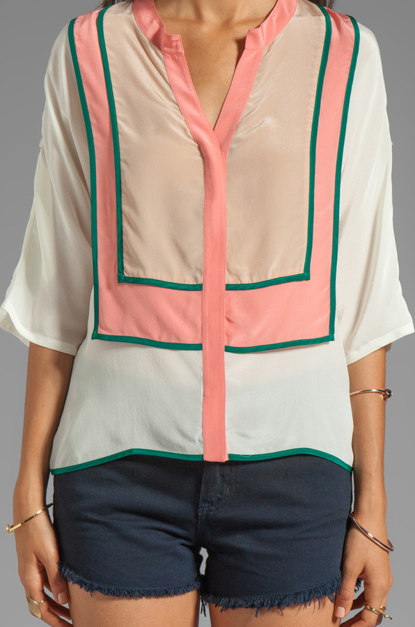 Line & Dot Color Block Binding Top