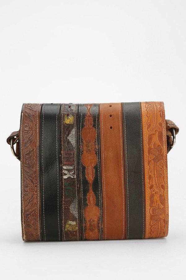American Vintage Urban Renewal Tooled Belt Messenger Bag