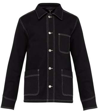 A.P.C. Veste Aaron Topstitched Denim Jacket - Mens - Black