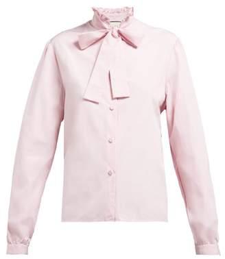Gucci Crinkled Ruffle Collar Cotton Poplin Shirt - Womens - Pink