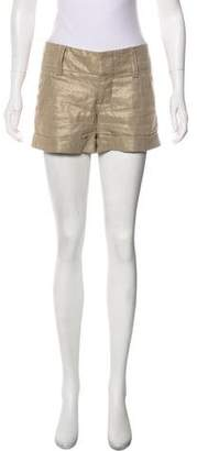 Alice + Olivia Mid-Rise Linen-Blend Mini Shorts