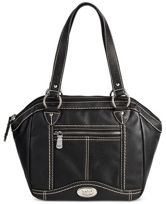 Bolo Women's Faux Leather Satchel Handbag with Front/Back/Interior Compartments with Top Closure - Black $39.99 thestylecure.com