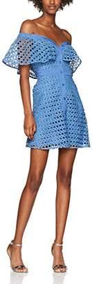 Endless Rose Women's Crochet Lace Front Button Up Party Dress, (Lavender Blue), (Size: Large)