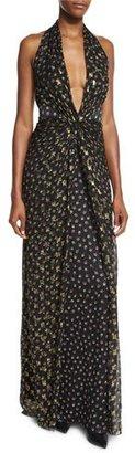 Diane von Furstenberg Evelina Metallic Floral-Print Maxi Halter Dress $898 thestylecure.com