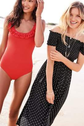 Next Womens Black/White Spot Shirred Off The Shoulder Midi Dress