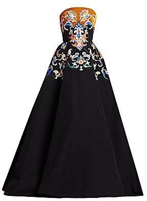 b86e9344 Oscar de la Renta Women's Strapless Embroidered Velvet Ball Gown