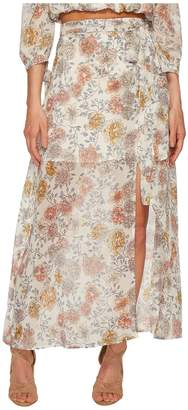 J.o.a. Printed Maxi Skirt with High Side Slit Women's Skirt