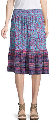ST. JOHN'S BAY Womens Elastic Waist Midi Pleated Skirt