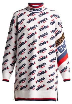 Fendi Mania Logo Oversized Sweater - Womens - White Multi