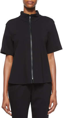 Lafayette 148 New York Beverly Short-Sleeve Funnel-Neck Jacket, Black