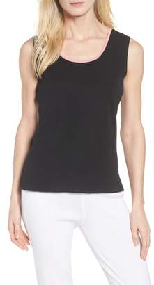 Ming Wang Contrast Scoop Neck Knit Tank