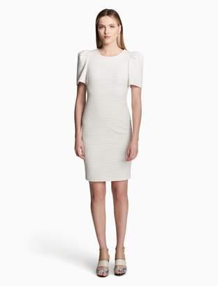 Calvin Klein striped puff shoulder sheath dress