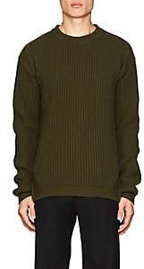 Rick Owens Men's Rib-Knit Virgin Wool Crewneck Fisherman Sweater - Olive