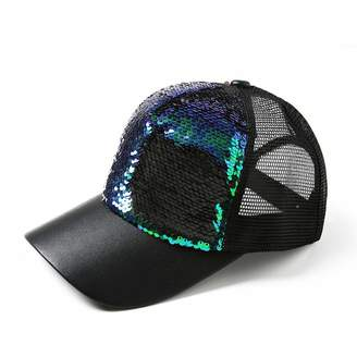 f986a025b1155 Mageed Anna 018 Glitter Ponytail Baseball Cap Messy Bun Dad Hats for Women  Sequins Summer Mesh