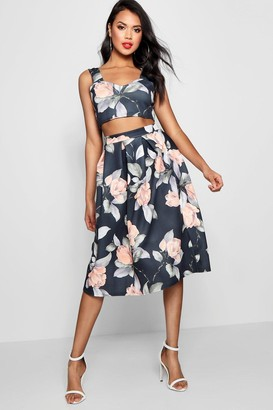 boohoo Crop Top & Full Midi Skirt Co-Ord Set