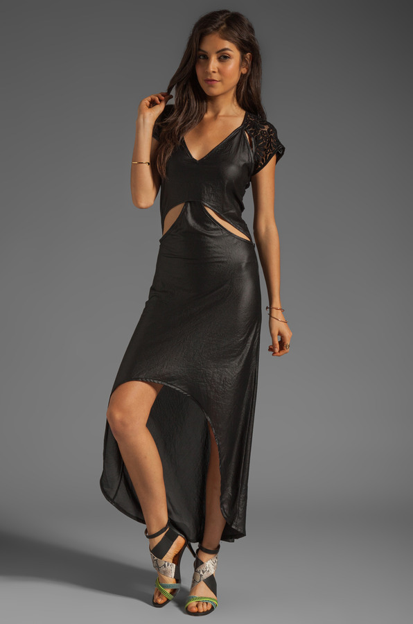 Nightcap Cutaway Cap Sleeve Gown