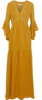 Badgley Mischka Silk Crepe De Chine Maxi Dress
