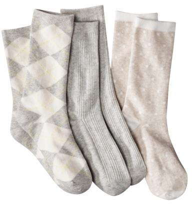 Merona Women's 3-Pack Preppy Socks - Assorted Colors/Patterns