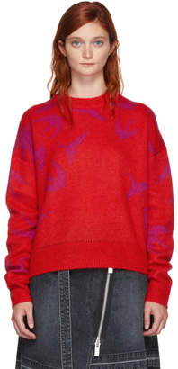 McQ Red and Pink Swallow Swarm Sweater