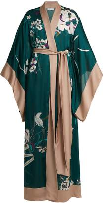 Carine Gilson Floral-print silk-satin kimono robe