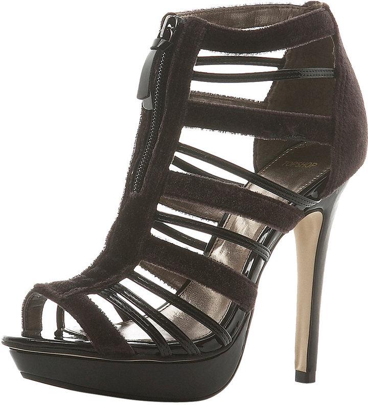 LORDES Velvet Zip Front Sandal