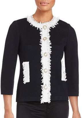 St. John Women's Wool Blend Fringe Trim Jacket - Black