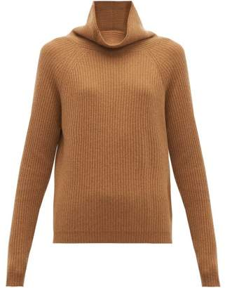 Allude High Neck Ribbed Cashmere Sweater - Womens - Beige