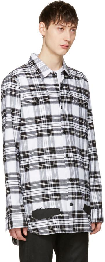 Off-White White Check Diagonal Spray Shirt 2
